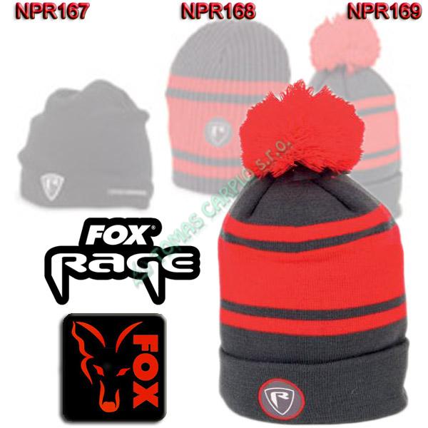 ed985e3b3f8 Fox Rage Beanie Hat Red Grey Bobble kulich